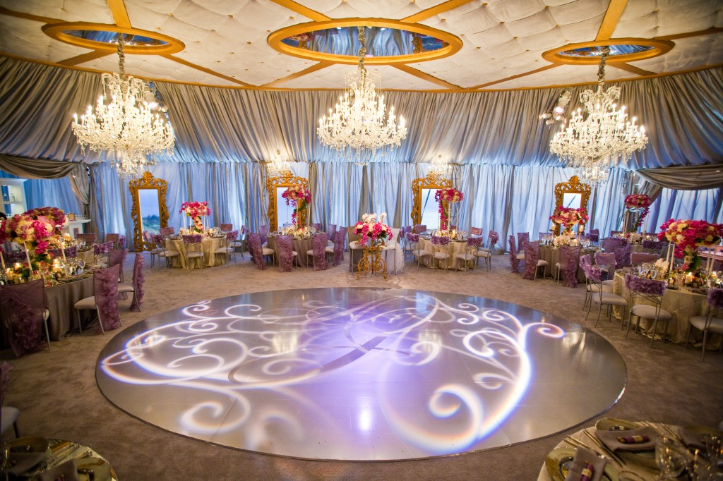 Reception Shot with dance floor and windows