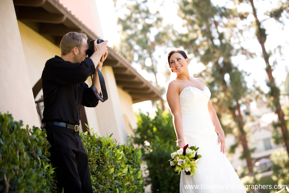 Photographer with bride