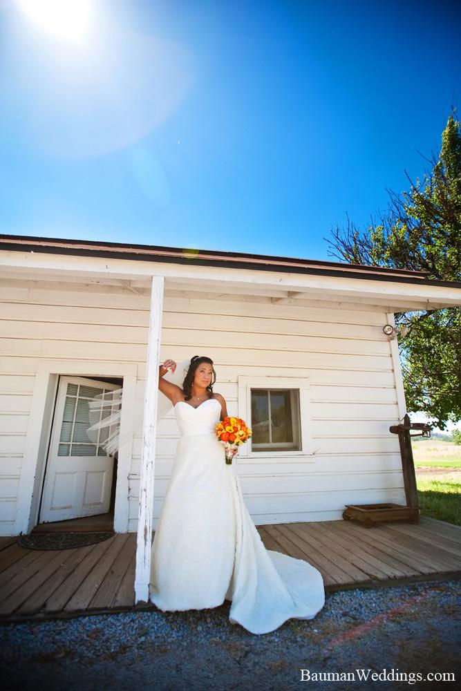 bride at a ranch wedding