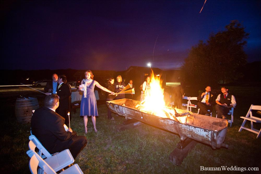Wedding reception bonfire