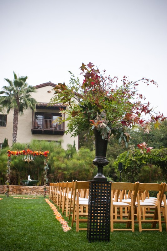 Fall wedding ceremony Fall arrangement