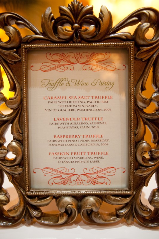 Wine and truffle pairing menu