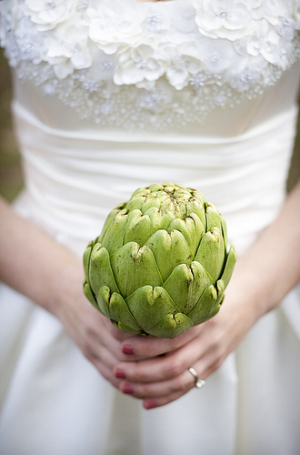bride with artichoke bouquet